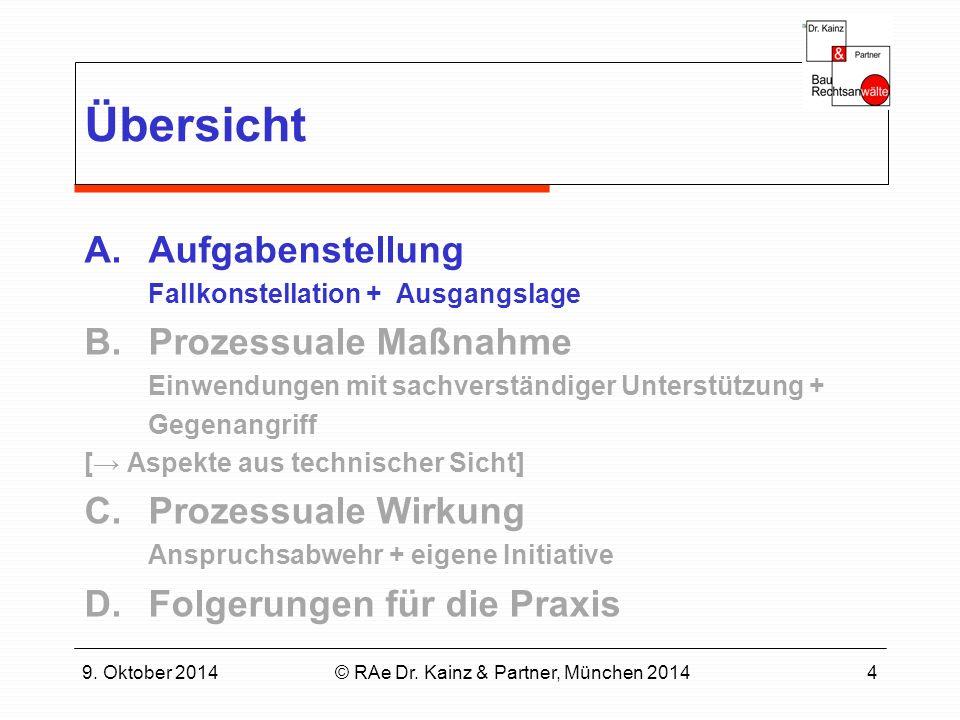 9. Oktober 2014© RAe Dr. Kainz & Partner, München 20144 Übersicht A.Aufgabenstellung Fallkonstellation + Ausgangslage B.Prozessuale Maßnahme Einwendun