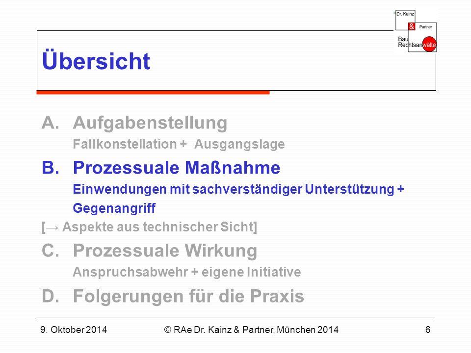9. Oktober 2014© RAe Dr. Kainz & Partner, München 20146 Übersicht A.Aufgabenstellung Fallkonstellation + Ausgangslage B.Prozessuale Maßnahme Einwendun