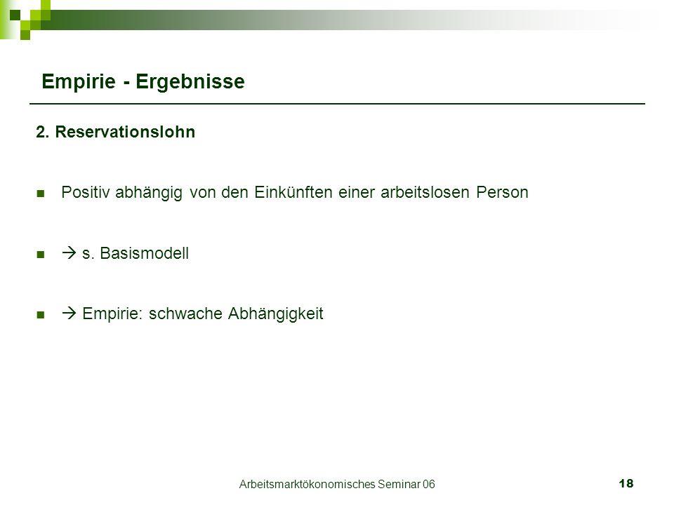 Arbeitsmarktökonomisches Seminar 0618 Empirie - Ergebnisse 2.