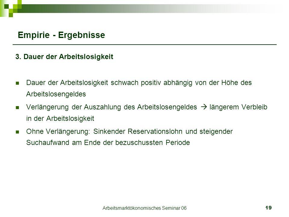 Arbeitsmarktökonomisches Seminar 0619 Empirie - Ergebnisse 3.