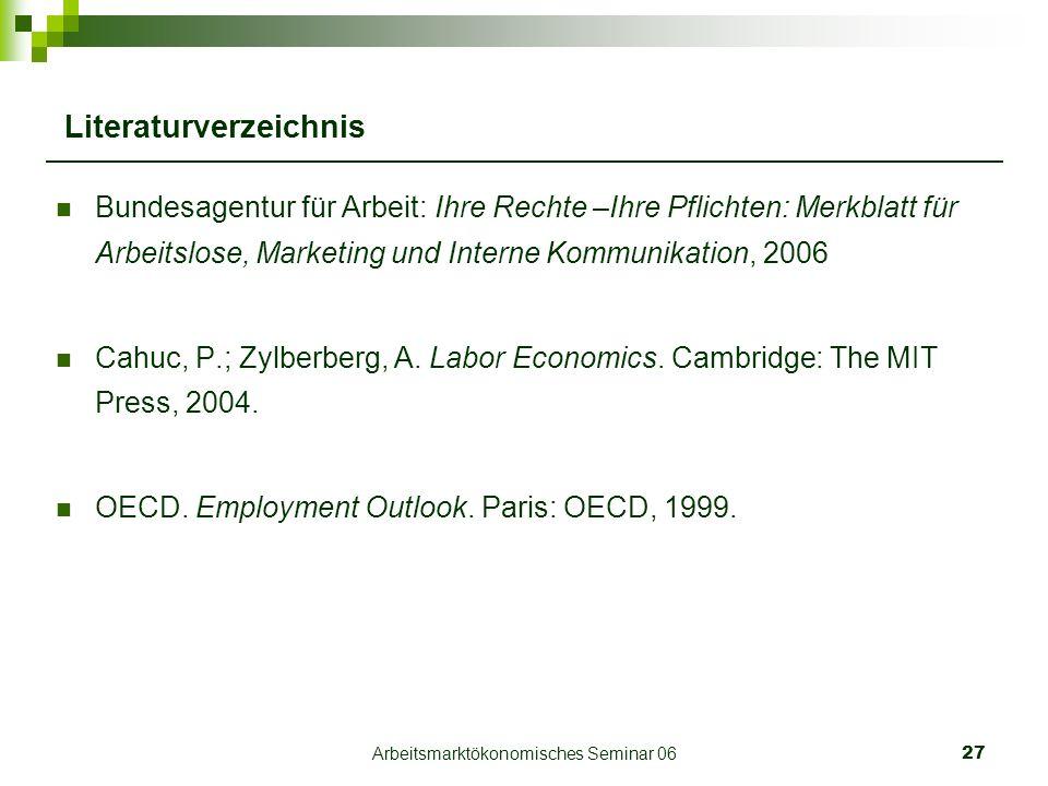 Arbeitsmarktökonomisches Seminar 0627 Literaturverzeichnis Bundesagentur für Arbeit: Ihre Rechte –Ihre Pflichten: Merkblatt für Arbeitslose, Marketing und Interne Kommunikation, 2006 Cahuc, P.; Zylberberg, A.