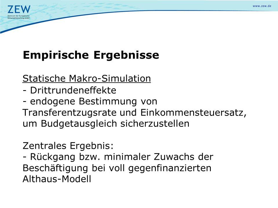 Statische Makro-Simulation - Drittrundeneffekte - endogene Bestimmung von Transferentzugsrate und Einkommensteuersatz, um Budgetausgleich sicherzustel