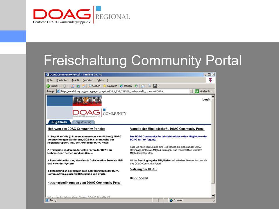 Freischaltung Community Portal