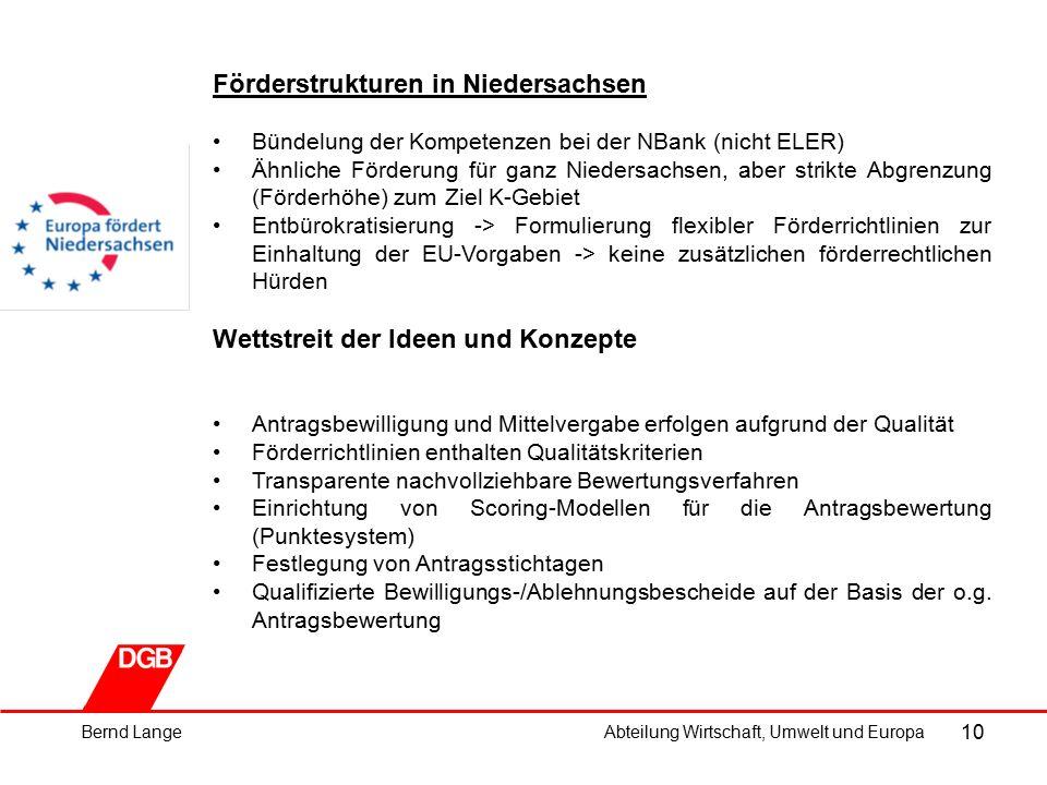 10 Förderstrukturen in Niedersachsen Bündelung der Kompetenzen bei der NBank (nicht ELER) Ähnliche Förderung für ganz Niedersachsen, aber strikte Abgrenzung (Förderhöhe) zum Ziel K-Gebiet Entbürokratisierung -> Formulierung flexibler Förderrichtlinien zur Einhaltung der EU-Vorgaben -> keine zusätzlichen förderrechtlichen Hürden Wettstreit der Ideen und Konzepte Antragsbewilligung und Mittelvergabe erfolgen aufgrund der Qualität Förderrichtlinien enthalten Qualitätskriterien Transparente nachvollziehbare Bewertungsverfahren Einrichtung von Scoring-Modellen für die Antragsbewertung (Punktesystem) Festlegung von Antragsstichtagen Qualifizierte Bewilligungs-/Ablehnungsbescheide auf der Basis der o.g.