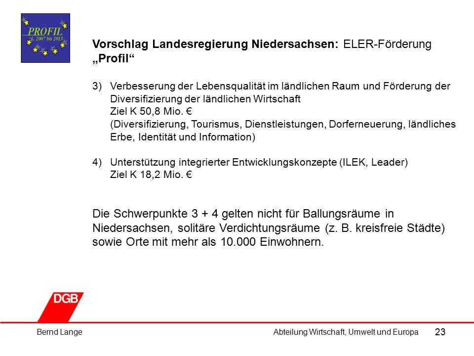"""23 Vorschlag Landesregierung Niedersachsen: ELER-Förderung """"Profil 3)Verbesserung der Lebensqualität im ländlichen Raum und Förderung der Diversifizierung der ländlichen Wirtschaft Ziel K 50,8 Mio."""