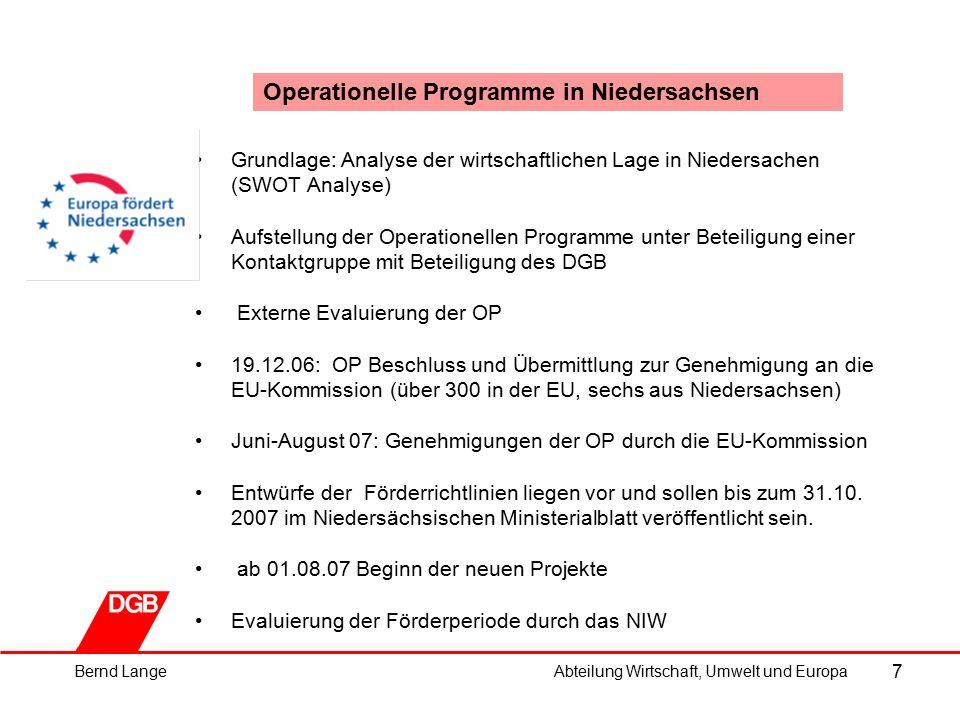 """18 Landesregierung Niedersachsen: ESF-Förderung (2/5) Schwerpunkt 1: """"Im Ziel 1 ist geplant, aus diesem Schwerpunkt Mittel im Umfang von insgesamt 4 Mio."""