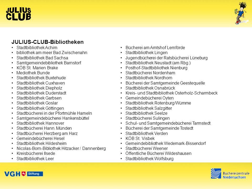 JULIUS-CLUB-Jury Die Jury besteht aus: Bibliothekare, Buchhändler, Literaturwissenschaftler, Kulturwissenschaftler Jugendliche zwischen 11 - 14 Jahren, welche sich in Leseclubs engagieren Bei der Auswahl der JULIUS-CLUB-Bücher berücksichtigt werden: Vorschläge und Interessen aus Rückmeldungen der Julius-Club-Teilnehmer vom Vorjahr Vorschläge ausgewählter Vielleser und Hauptschüler Vorschläge der Bibliothekare und der Jurymitglieder