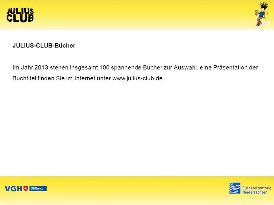JULIUS-CLUB-Materialien Club-Card Bewertungsbogen für die Bücher Plakate Info-Flyer mit Anmeldung JULIUS-CLUB Armband