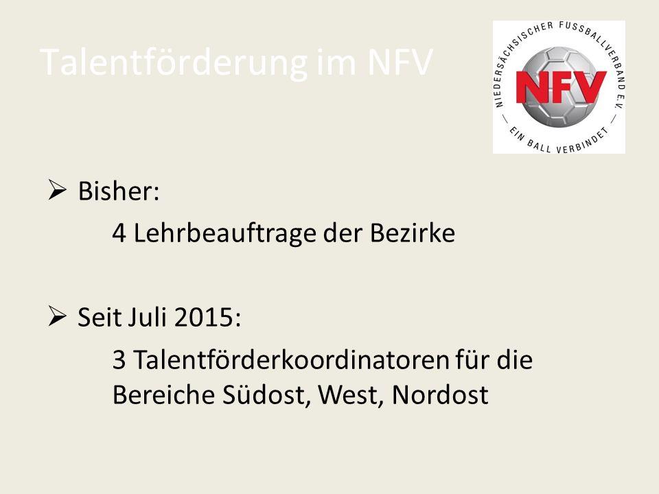 Talentförderung im NFV  Bisher: 4 Lehrbeauftrage der Bezirke  Seit Juli 2015: 3 Talentförderkoordinatoren für die Bereiche Südost, West, Nordost