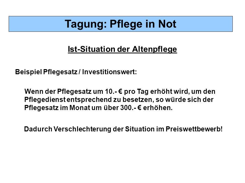 Tagung: Pflege in Not Ist-Situation der Altenpflege Beispiel Pflegesatz / Investitionswert: Wenn der Pflegesatz um 10.- € pro Tag erhöht wird, um den