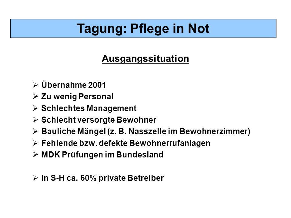 Tagung: Pflege in Not Ausgangssituation  Übernahme 2001  Zu wenig Personal  Schlechtes Management  Schlecht versorgte Bewohner  Bauliche Mängel (z.