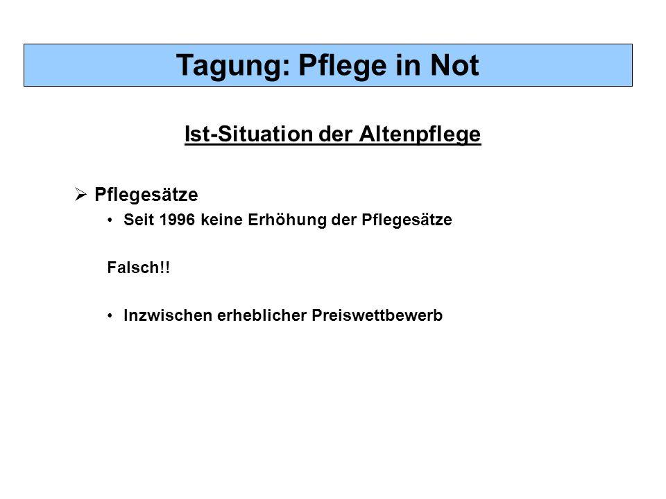 Tagung: Pflege in Not Ist-Situation der Altenpflege  Pflegesätze Seit 1996 keine Erhöhung der Pflegesätze Falsch!! Inzwischen erheblicher Preiswettbe