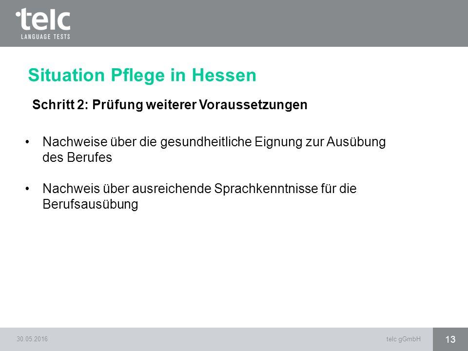 30.05.2016telc gGmbH 13 Situation Pflege in Hessen Schritt 2: Prüfung weiterer Voraussetzungen Nachweise über die gesundheitliche Eignung zur Ausübung