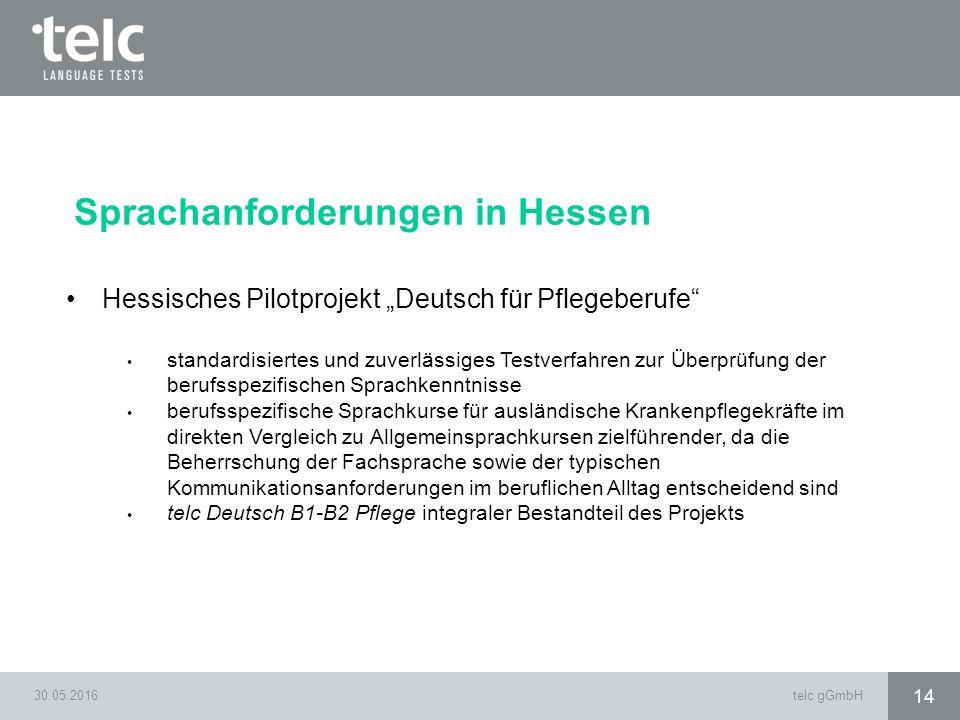 """30.05.2016telc gGmbH 14 Sprachanforderungen in Hessen Hessisches Pilotprojekt """"Deutsch für Pflegeberufe"""" standardisiertes und zuverlässiges Testverfah"""
