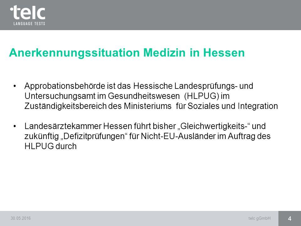 30.05.2016telc gGmbH 4 Anerkennungssituation Medizin in Hessen Approbationsbehörde ist das Hessische Landesprüfungs- und Untersuchungsamt im Gesundhei