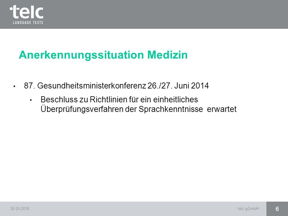 87. Gesundheitsministerkonferenz 26./27. Juni 2014 Beschluss zu Richtlinien für ein einheitliches Überprüfungsverfahren der Sprachkenntnisse erwartet