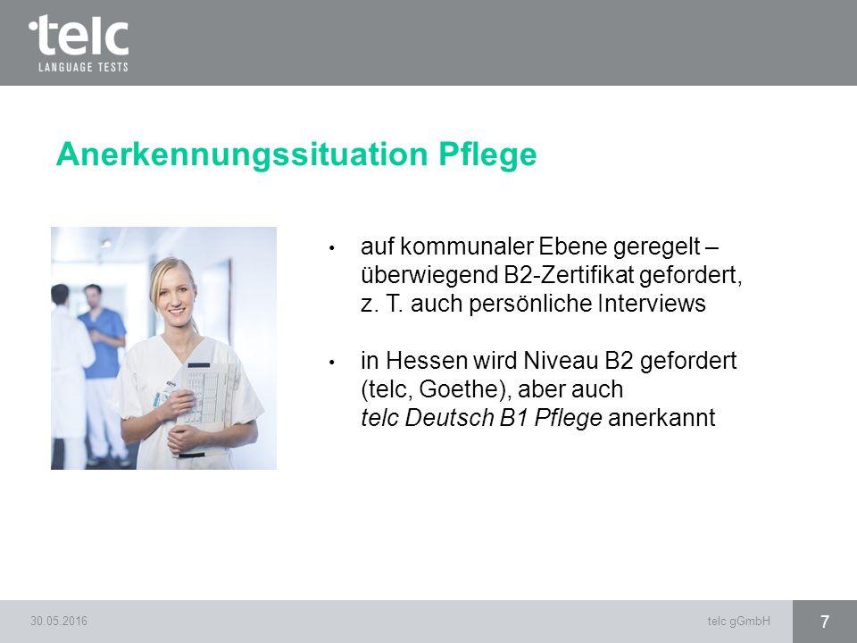 30.05.2016telc gGmbH 7 auf kommunaler Ebene geregelt – überwiegend B2-Zertifikat gefordert, z. T. auch persönliche Interviews in Hessen wird Niveau B2
