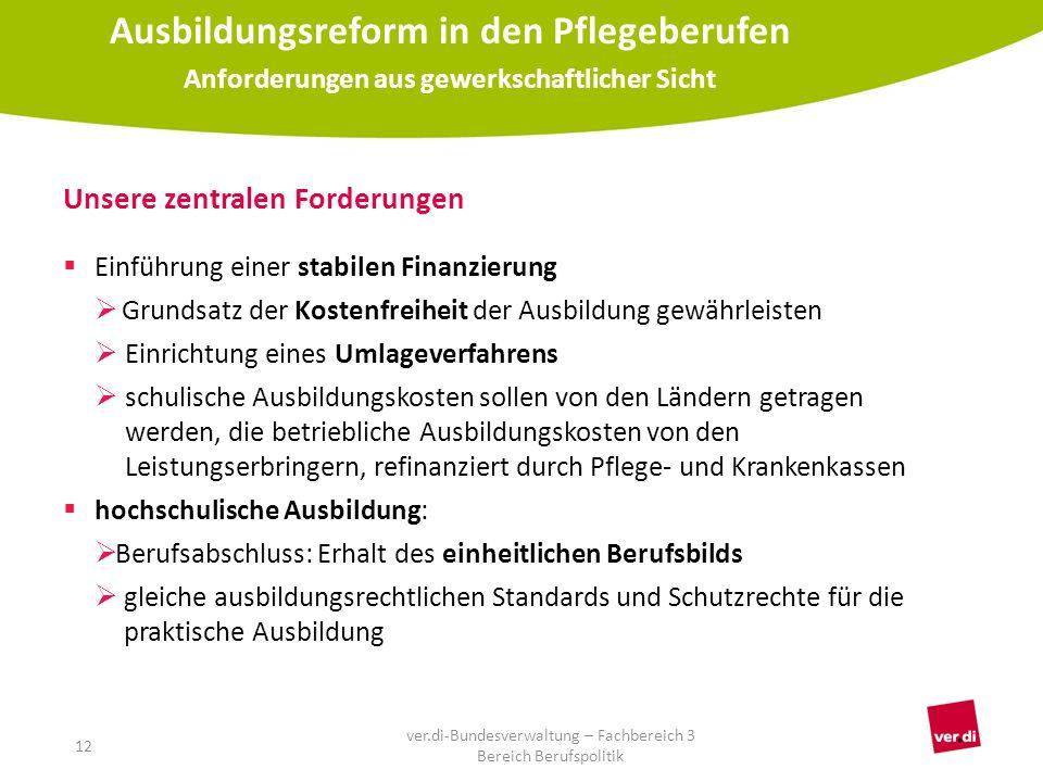 Unsere zentralen Forderungen  Einführung einer stabilen Finanzierung  Grundsatz der Kostenfreiheit der Ausbildung gewährleisten  Einrichtung eines