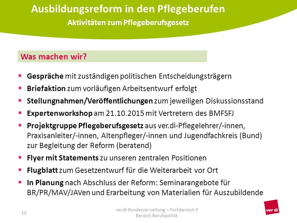  Gespräche mit zuständigen politischen Entscheidungsträgern  Briefaktion zum vorläufigen Arbeitsentwurf erfolgt  Stellungnahmen/Veröffentlichungen