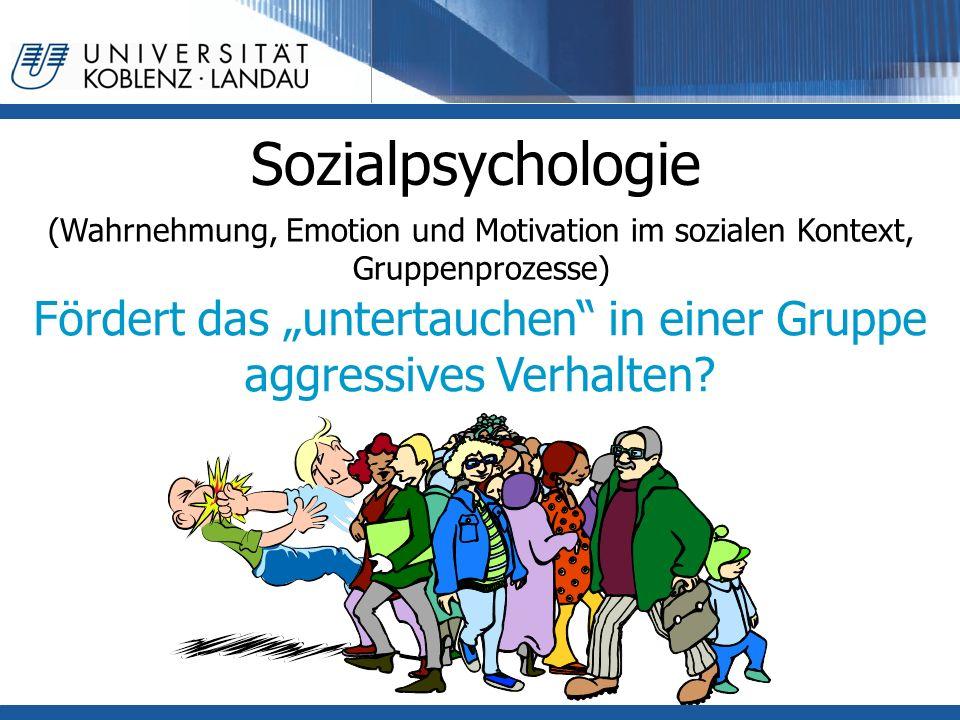 """Sozialpsychologie (Wahrnehmung, Emotion und Motivation im sozialen Kontext, Gruppenprozesse) Fördert das """"untertauchen"""" in einer Gruppe aggressives Ve"""