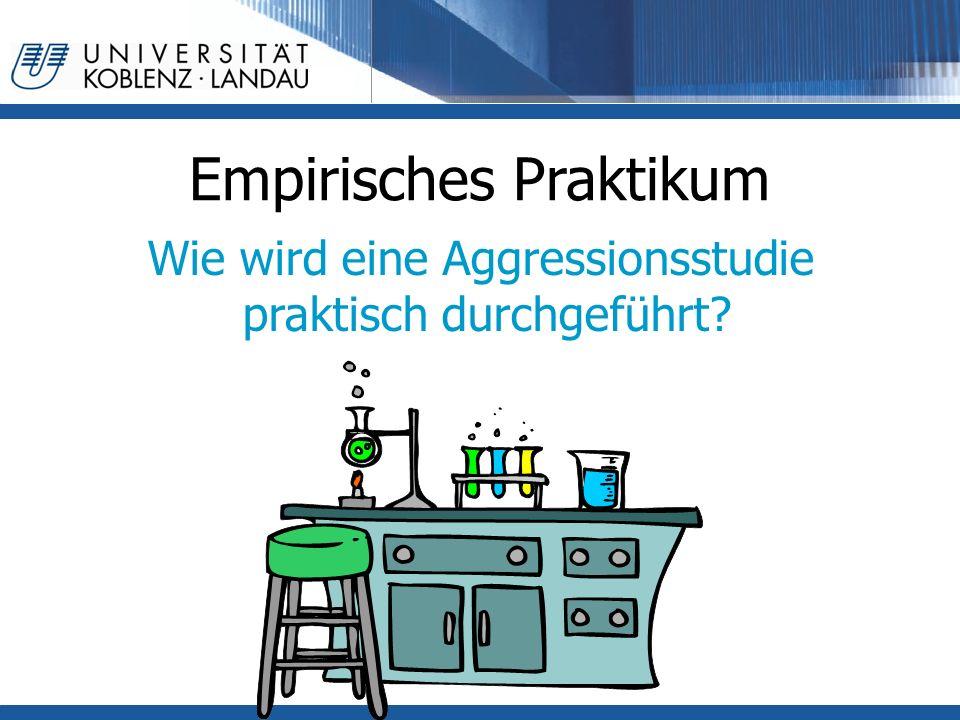 Empirisches Praktikum Wie wird eine Aggressionsstudie praktisch durchgeführt?