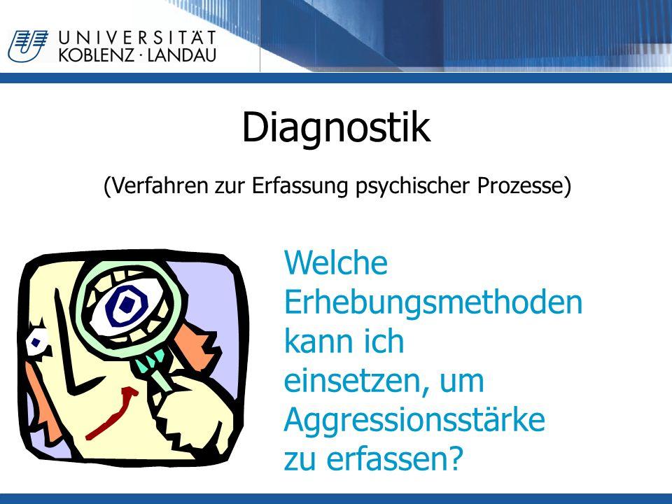 Diagnostik (Verfahren zur Erfassung psychischer Prozesse) Welche Erhebungsmethoden kann ich einsetzen, um Aggressionsstärke zu erfassen