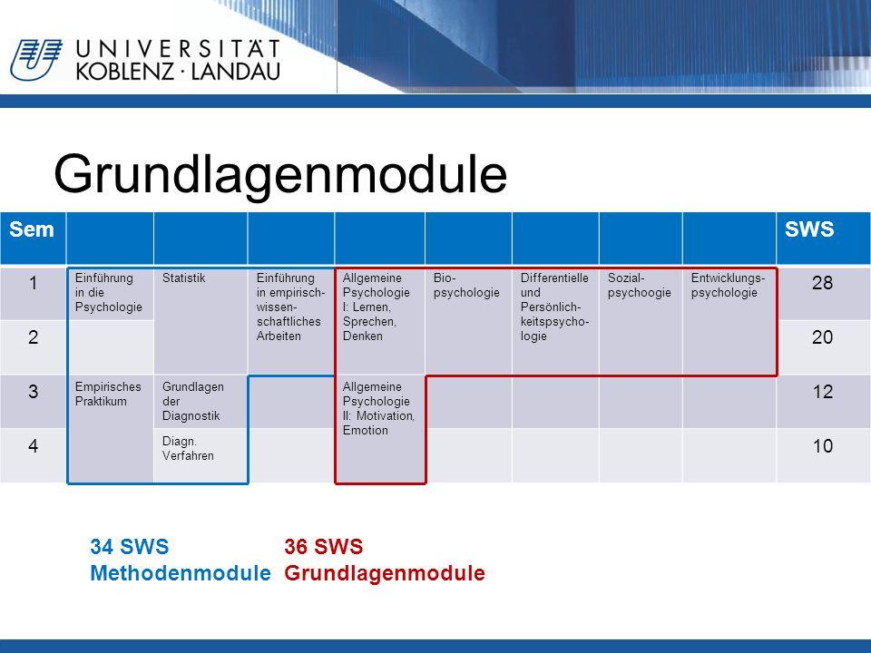 Grundlagenmodule SemSWS 1 Einführung in die Psychologie StatistikEinführung in empirisch- wissen- schaftliches Arbeiten Allgemeine Psychologie I: Lern