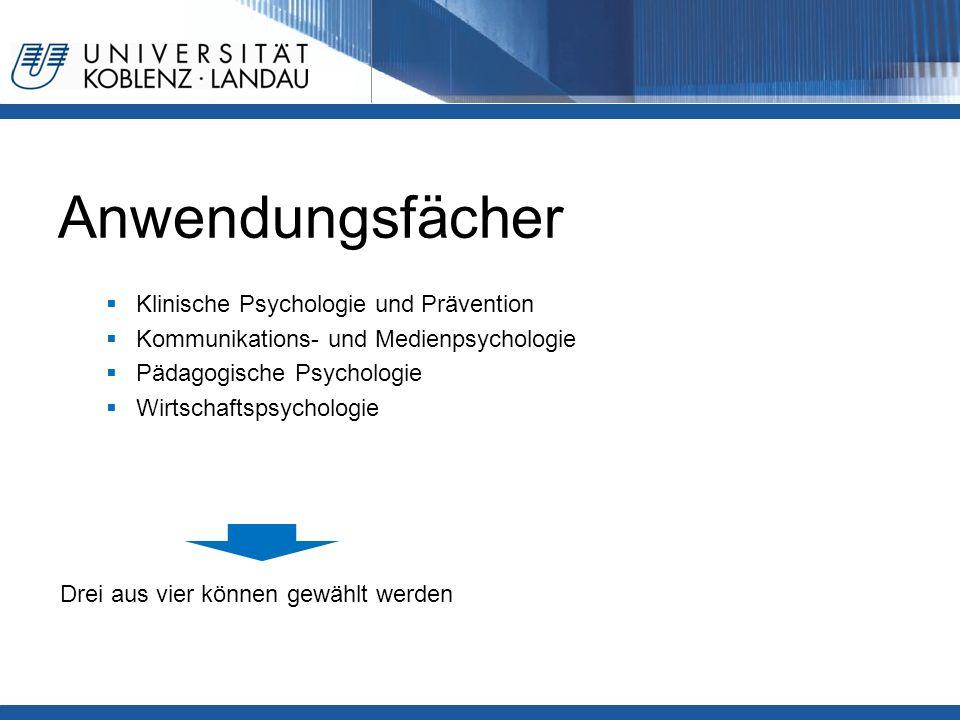 Anwendungsfächer  Klinische Psychologie und Prävention  Kommunikations- und Medienpsychologie  Pädagogische Psychologie  Wirtschaftspsychologie Dr