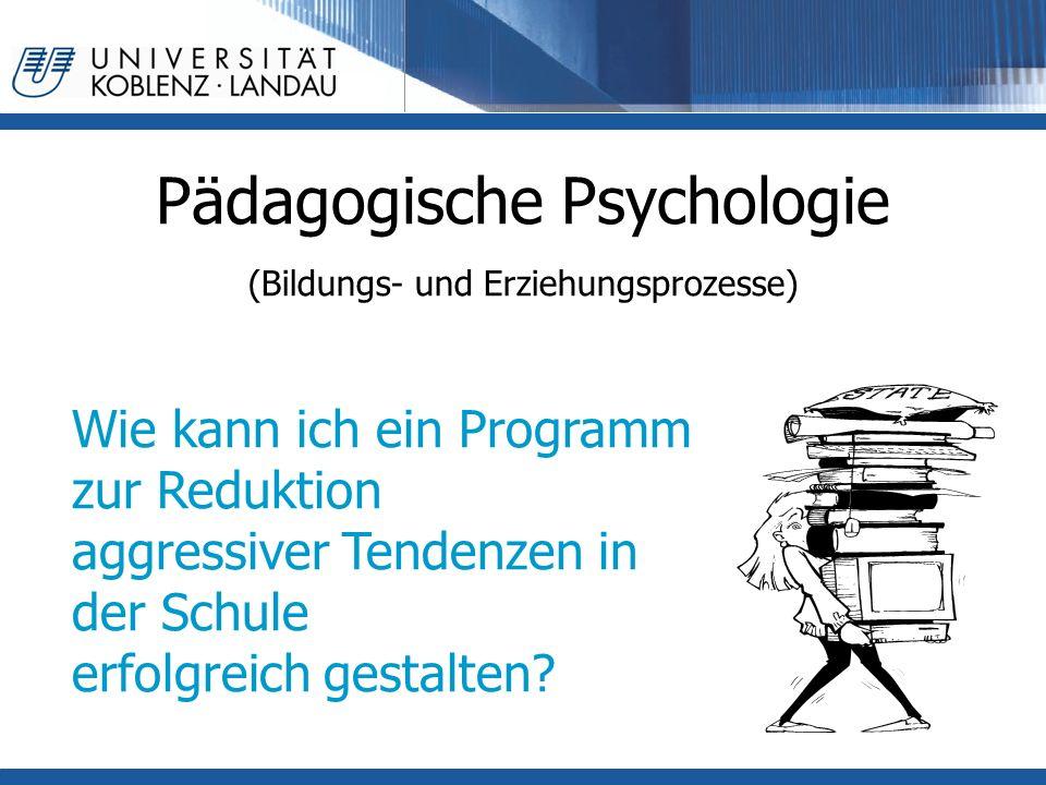 Pädagogische Psychologie (Bildungs- und Erziehungsprozesse) Wie kann ich ein Programm zur Reduktion aggressiver Tendenzen in der Schule erfolgreich gestalten?