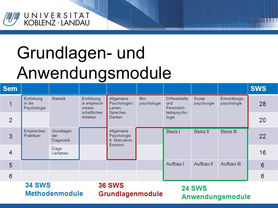 Grundlagen- und Anwendungsmodule SemSWS 1 Einführung in die Psychologie StatistikEinführung in empirisch- wissen- schaftliches Arbeiten Allgemeine Psy