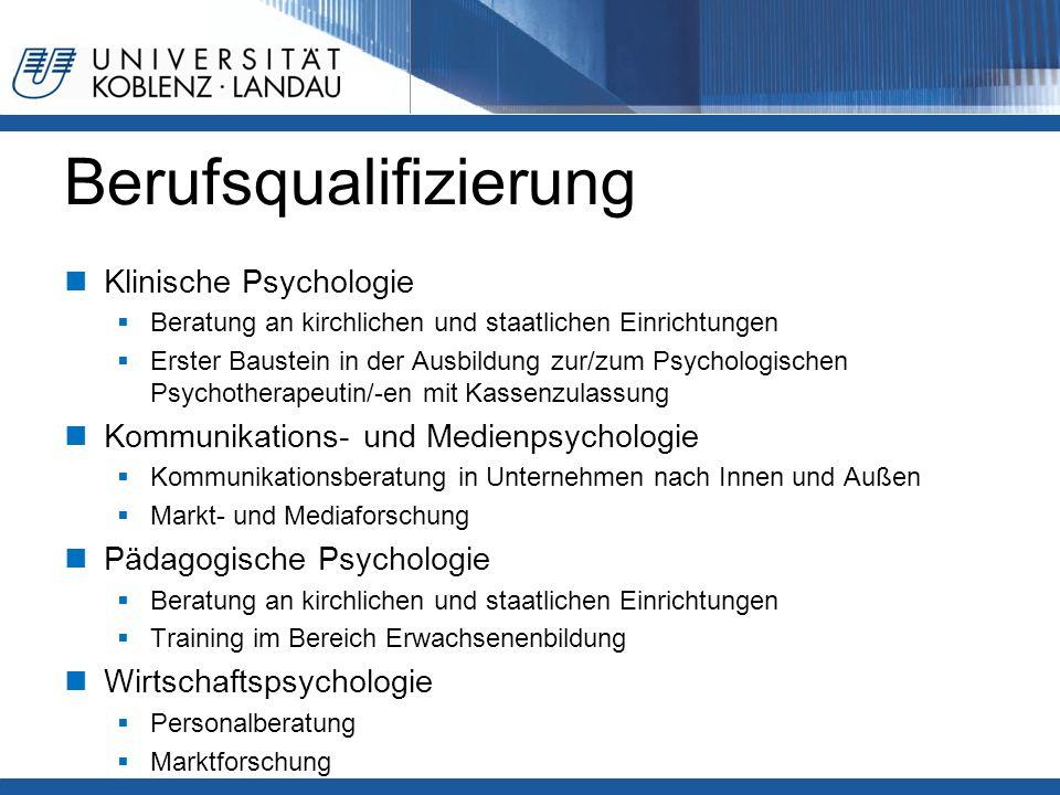 Berufsqualifizierung Klinische Psychologie  Beratung an kirchlichen und staatlichen Einrichtungen  Erster Baustein in der Ausbildung zur/zum Psychol
