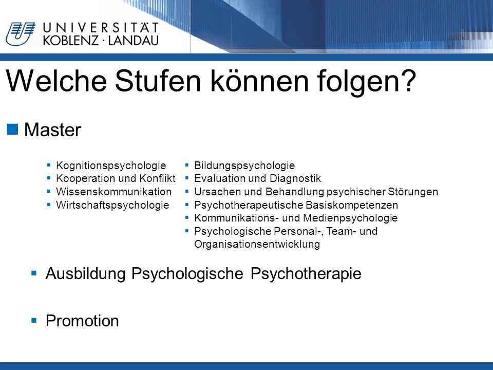 Welche Stufen können folgen? Master  Ausbildung Psychologische Psychotherapie  Promotion  Kognitionspsychologie  Kooperation und Konflikt  Wissen