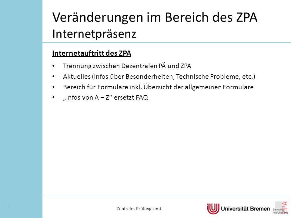 Veränderungen im Bereich des ZPA Internetpräsenz Internetauftritt des ZPA Trennung zwischen Dezentralen PÄ und ZPA Aktuelles (Infos über Besonderheiten, Technische Probleme, etc.) Bereich für Formulare inkl.