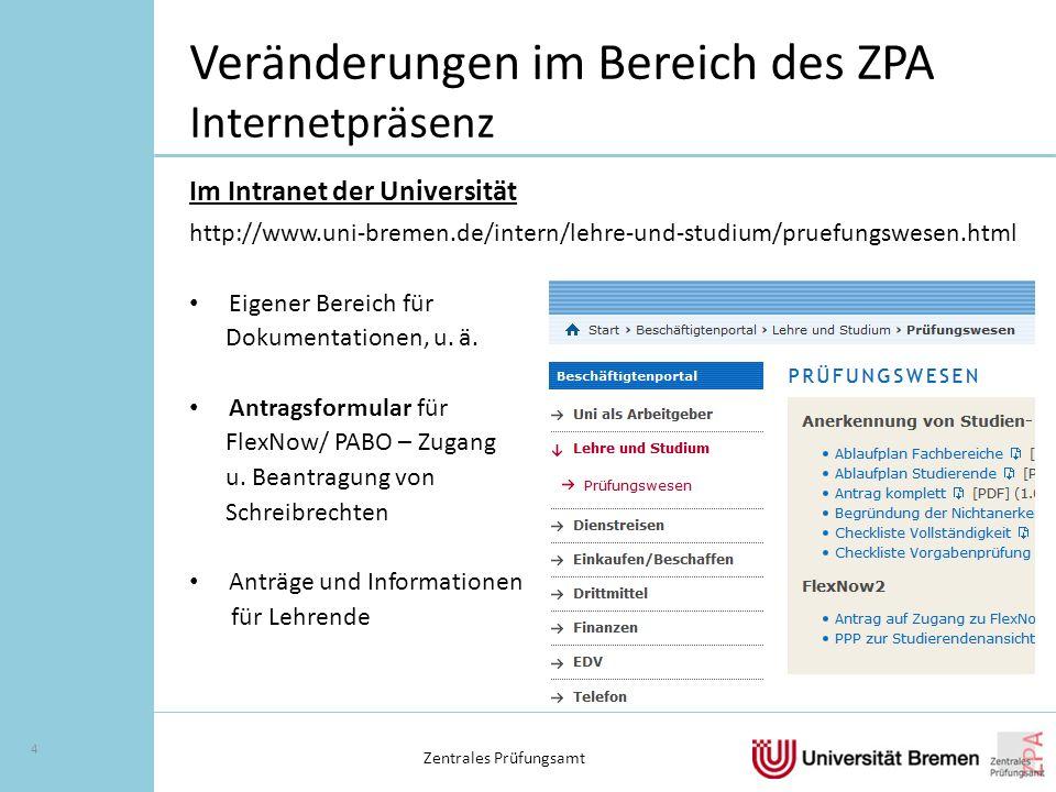 Veränderungen im Bereich des ZPA Internetpräsenz Im Intranet der Universität http://www.uni-bremen.de/intern/lehre-und-studium/pruefungswesen.html Eigener Bereich für Dokumentationen, u.