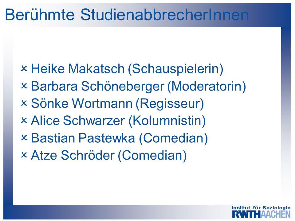 Berühmte StudienabbrecherInnen  Heike Makatsch (Schauspielerin)  Barbara Schöneberger (Moderatorin)  Sönke Wortmann (Regisseur)  Alice Schwarzer (Kolumnistin)  Bastian Pastewka (Comedian)  Atze Schröder (Comedian)
