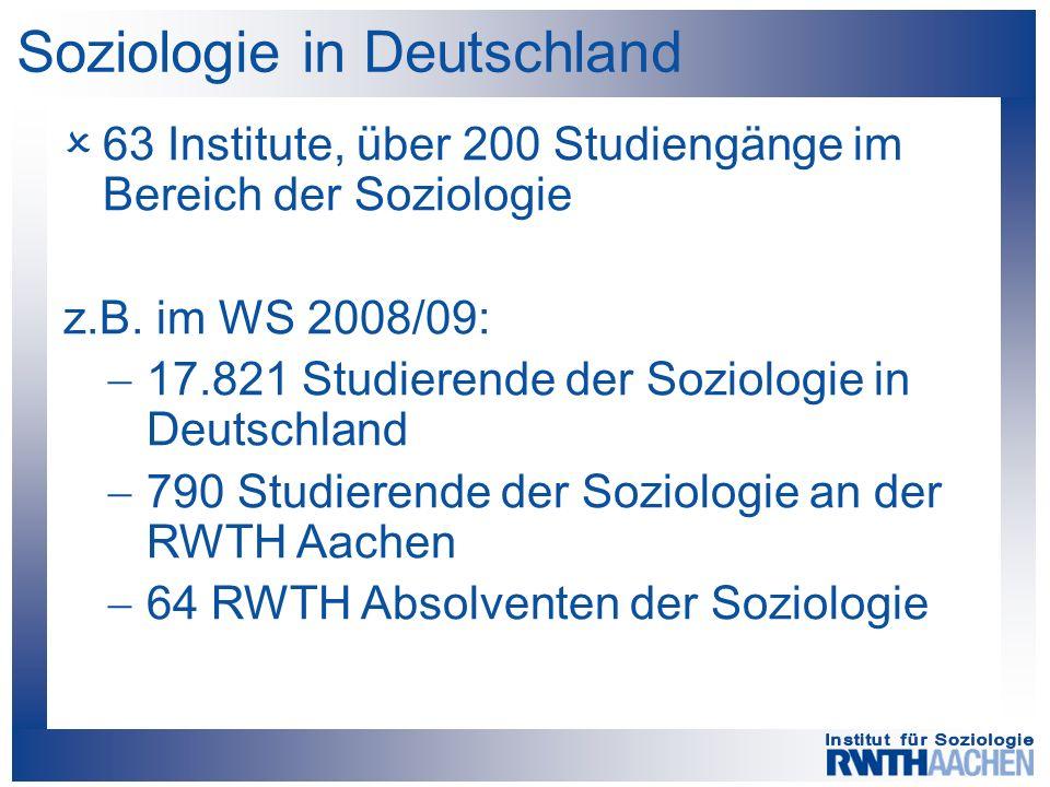  63 Institute, über 200 Studiengänge im Bereich der Soziologie z.B. im WS 2008/09:  17.821 Studierende der Soziologie in Deutschland  790 Studieren