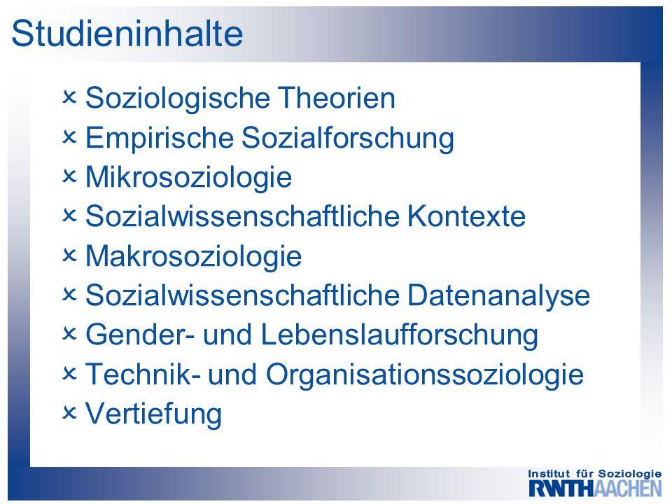 Studieninhalte  Soziologische Theorien  Empirische Sozialforschung  Mikrosoziologie  Sozialwissenschaftliche Kontexte  Makrosoziologie  Sozialwissenschaftliche Datenanalyse  Gender- und Lebenslaufforschung  Technik- und Organisationssoziologie  Vertiefung