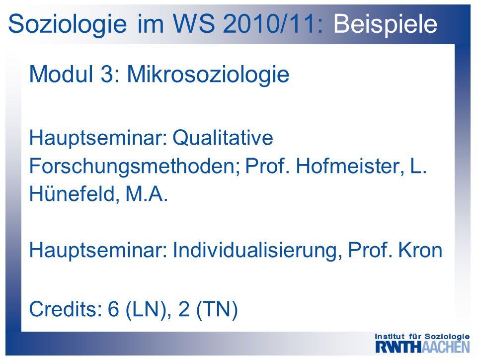 Soziologie im WS 2010/11: Beispiele Modul 3: Mikrosoziologie Hauptseminar: Qualitative Forschungsmethoden; Prof.