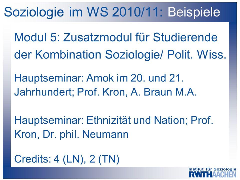 Soziologie im WS 2010/11: Beispiele Modul 5: Zusatzmodul für Studierende der Kombination Soziologie/ Polit. Wiss. Hauptseminar: Amok im 20. und 21. Ja