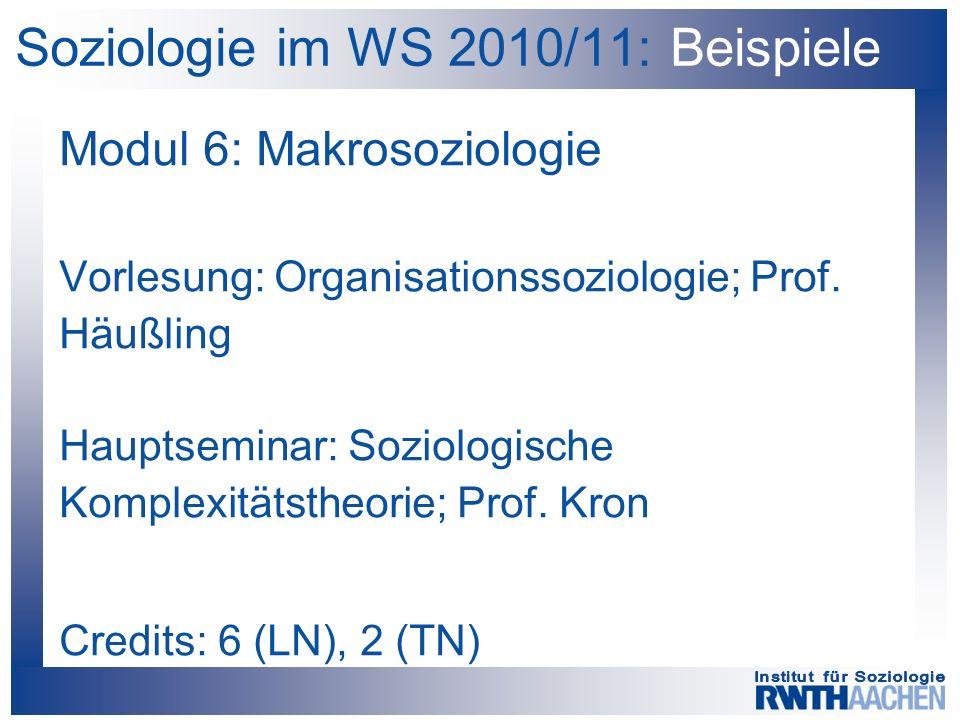 Soziologie im WS 2010/11: Beispiele Modul 6: Makrosoziologie Vorlesung: Organisationssoziologie; Prof. Häußling Hauptseminar: Soziologische Komplexitä