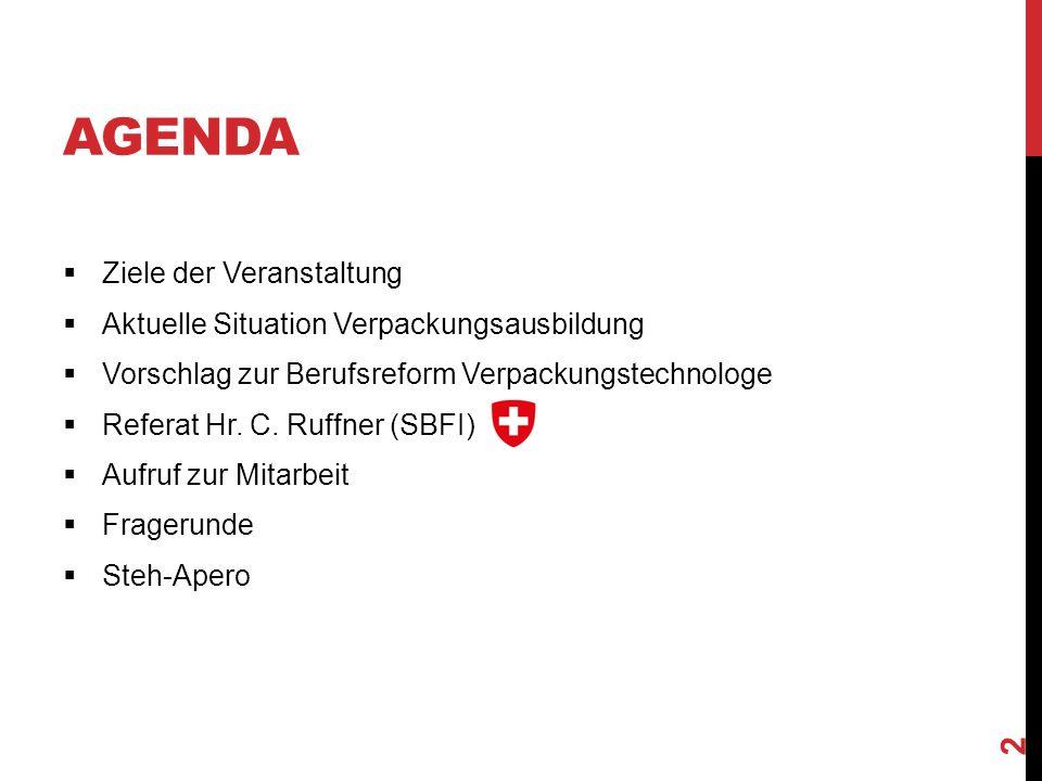 AGENDA  Ziele der Veranstaltung  Aktuelle Situation Verpackungsausbildung  Vorschlag zur Berufsreform Verpackungstechnologe  Referat Hr.