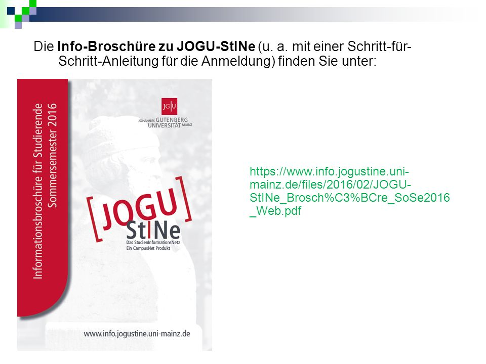 Die Info-Broschüre zu JOGU-StINe (u. a.