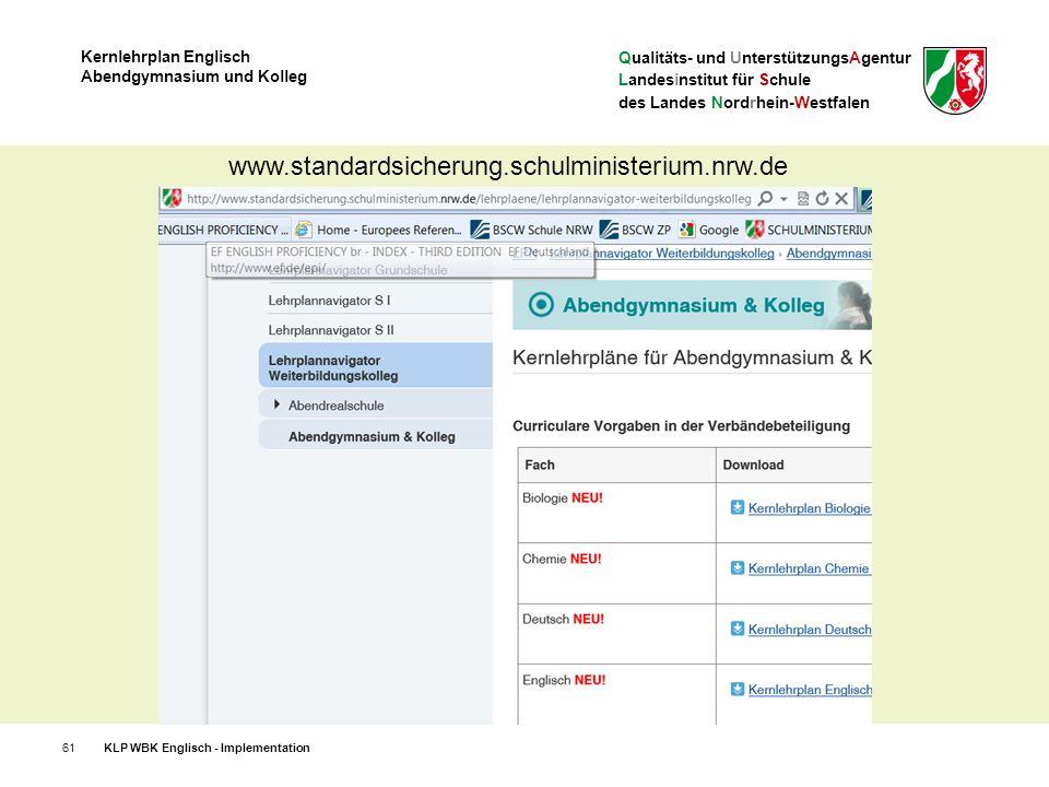 Qualitäts- und UnterstützungsAgentur Landesinstitut für Schule des Landes Nordrhein-Westfalen Kernlehrplan Englisch Abendgymnasium und Kolleg 61KLP WBK Englisch - Implementation www.standardsicherung.schulministerium.nrw.de
