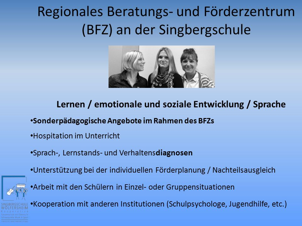 Inklusion an der Singbergschule inklusiv beschulte Kinder in den Klassen 5-9 in allen Schulformen Integrationshelfer BFZ-Kollegen BFZ-Büro Behindertengerechte Schulgebäude