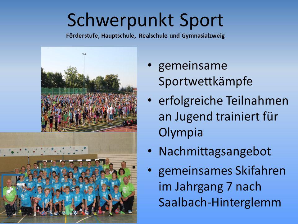 Sportklassen je eine Sportklasse in Förderstufe und Gymnasialzweig im Jahrgang 5 und 6.