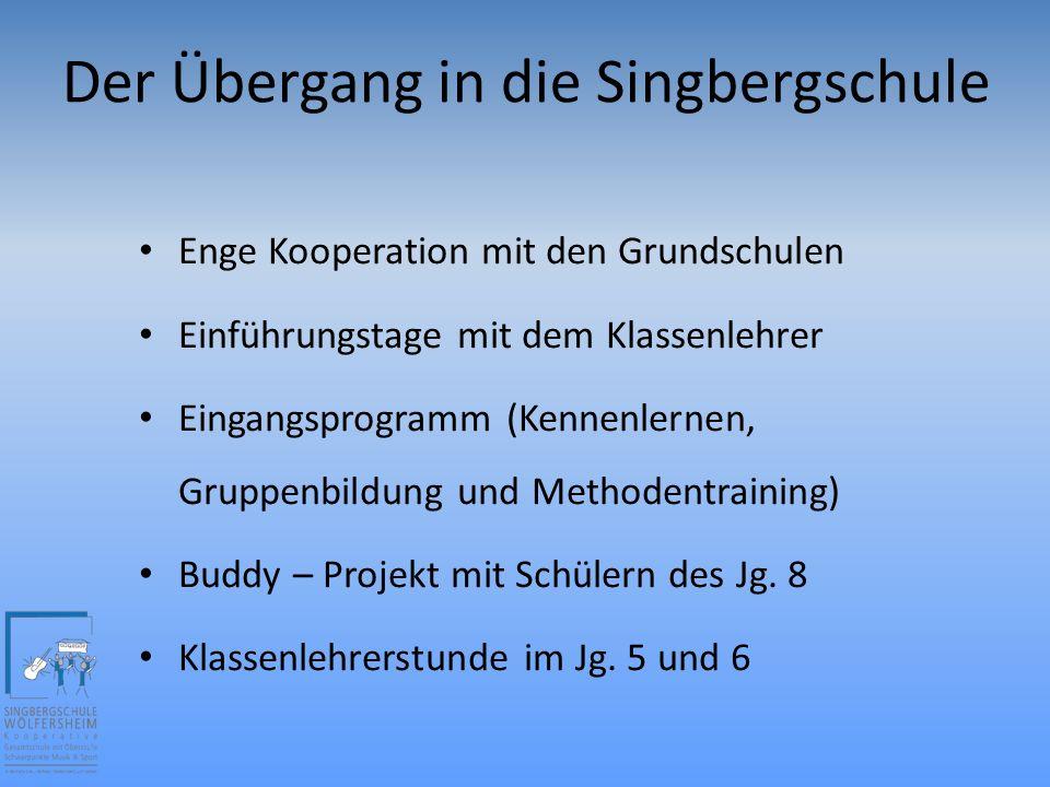 Der Übergang in die Singbergschule Enge Kooperation mit den Grundschulen Einführungstage mit dem Klassenlehrer Eingangsprogramm (Kennenlernen, Gruppenbildung und Methodentraining) Buddy – Projekt mit Schülern des Jg.