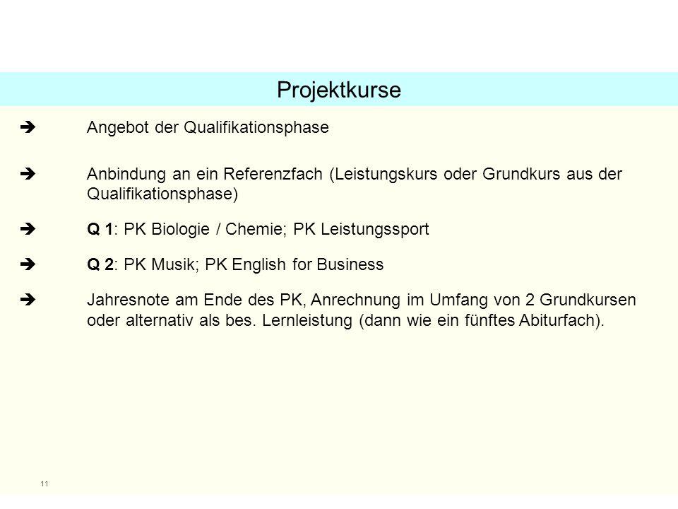 11  Angebot der Qualifikationsphase  Anbindung an ein Referenzfach (Leistungskurs oder Grundkurs aus der Qualifikationsphase)  Q 1: PK Biologie / C