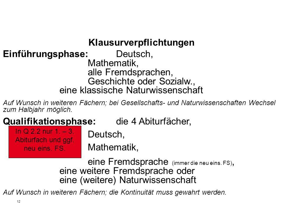 12 Klausurverpflichtungen Einführungsphase: Deutsch, Mathematik, alle Fremdsprachen, Geschichte oder Sozialw., eine klassische Naturwissenschaft Auf W