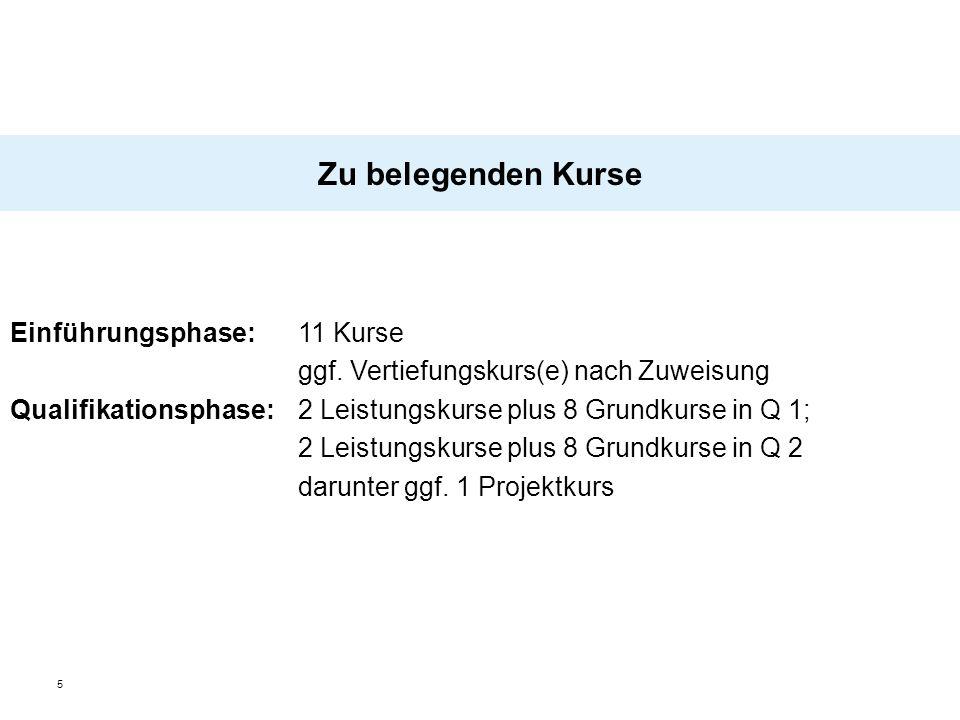 5 Zu belegenden Kurse Einführungsphase: 11 Kurse ggf. Vertiefungskurs(e) nach Zuweisung Qualifikationsphase: 2 Leistungskurse plus 8 Grundkurse in Q 1