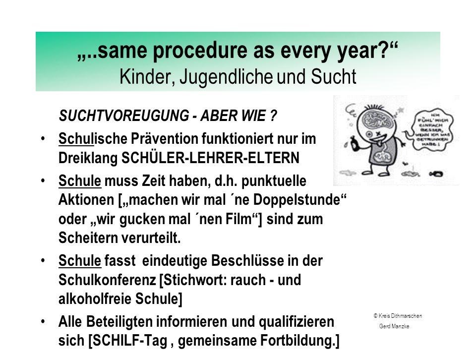 """""""..same procedure as every year?"""" Kinder, Jugendliche und Sucht SUCHTVOREUGUNG - ABER WIE ? Eltern müssen ihre Kinder ernst nehmen. Eltern müssen alle"""